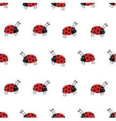 seamless ladybug background flat red vector image