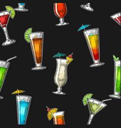 seamless pattern alcohol cocktail set vintage vector image