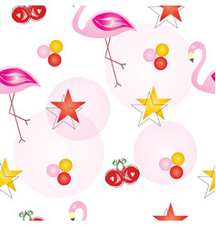 Seamless pattern with flamingos and cherry fruits vector