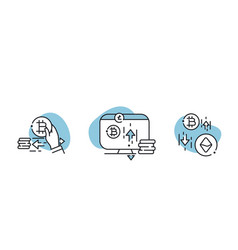 Set bitcoin and cryptocurrency icons vector