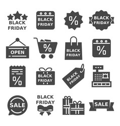 set of black friday icons vector image