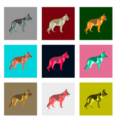 Set of in flat style german shepherd vector