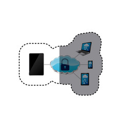 Smartphone padlock cloud security vector