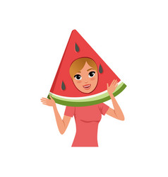 smiling woman character in watermelon fruit vector image