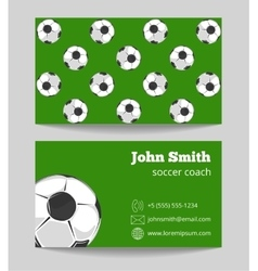 Soccer green field business card template vector