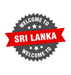 sri lanka sign welcome to sri lanka red sticker vector image