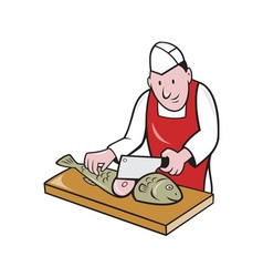 Sushi Chef Butcher Fishmonger Cartoon vector image