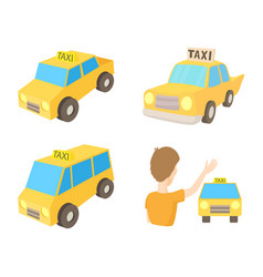 taxi car icon set cartoon style vector image