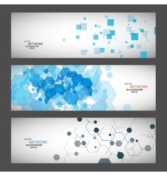 Three banner with abstract colored shapes vector image