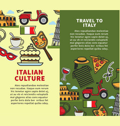 travel to italy vertical commercial brochures with vector image