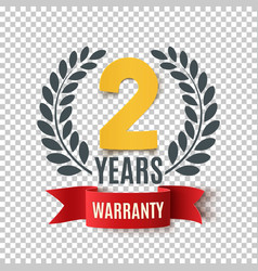 Two years warranty background with red ribbon and vector
