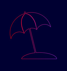 umbrella and sun lounger sign line icon vector image