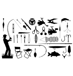 various fishing tools set vector image
