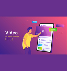 Video and live streaming on mobile app vector