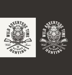 vintage monochrome hog hunting print vector image