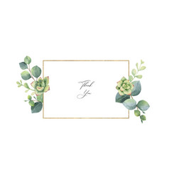 watercolor frame with eucalyptus leaves and vector image