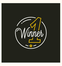 winner place logo round linear winner number vector image