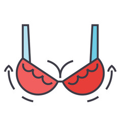 Woman bra breast augmentation concept line vector