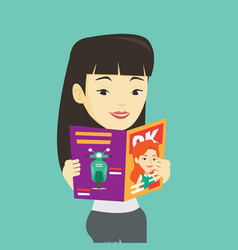 Woman reading magazine vector