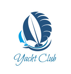 yacht club symbol for sailing sport and yachting vector image