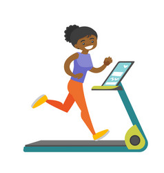 Young african-american woman running on treadmill vector