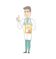 Young caucasian doctor holding a certificate vector