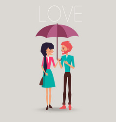 Young couple in love standing under one umbrella vector