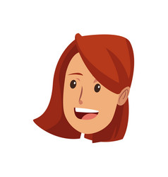 young woman laughing face pretty cartoon vector image