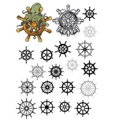 Heraldic nautical isolated helms set vector image