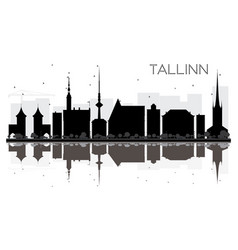 tallinn city skyline black and white silhouette vector image