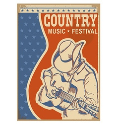 American Country music background retro poster vector image