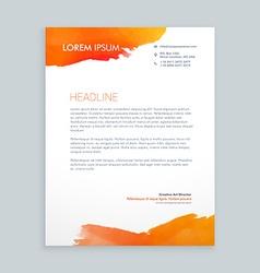 creative orange ink letterhead design vector image