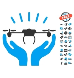 Drone Launch Hands Icon With Free Bonus vector image vector image