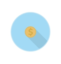 gold dollar coin icon with vector image