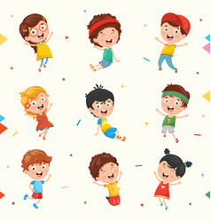 kids characters collection vector image vector image