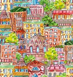 seamless texture with a cute cityscape watercolor vector image