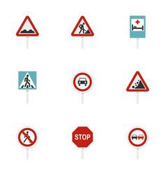 triangular and circular traffic signs icons set vector image