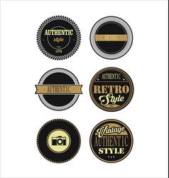 vintage labels black and brown set 3 vector image vector image