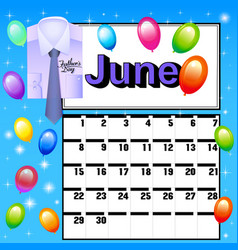 calendar for July Fathers Day vector image vector image