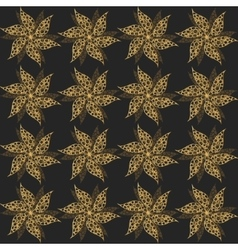 Gold vintage flowers seamless ornament vector image