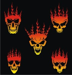 5 Burning Skulls vector image