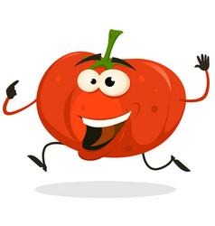 cartoon happy tomato character running vector image vector image