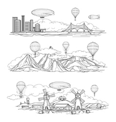 Landscapes with hot air balloons parade vector image