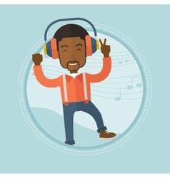 Man listening to music in headphones and dancing vector