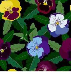 Seamless background from pansy flowers and leaves vector image