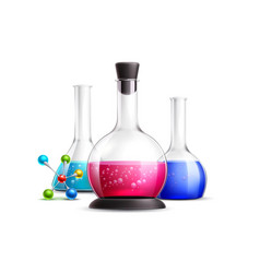 3d chemical laboratory tubes flask set vector image
