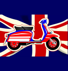 60s motor scooter over union jack vector