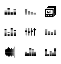 9 equalizer icons vector image