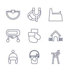 9 kid icons vector