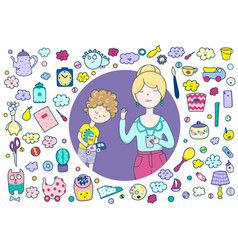a mean mother a frame cute icons items toys vector image
